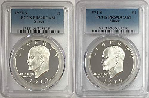 1973 S 1974 S Silver Eisenhower Ike Dollar 2 Coin Set $1 PCGS PR69DCAM