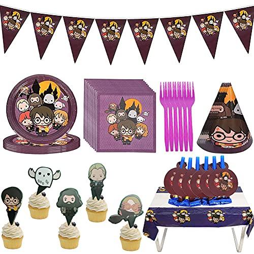 Harry Potter Vajilla Cumpleaños,Harry Potter Mágica Temática Fiesta,Suministros para Fiestas de Harry Potter Fiesta de Cumpleaños para Niños