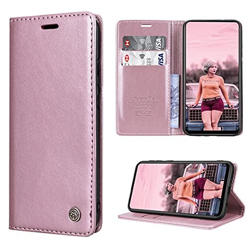 RuiPower Handyhülle für Samsung Galaxy A21s Hülle Premium Leder PU Flip Hülle Magnetisch Klapphülle Wallet Lederhülle Silikon Bumper Schutzhülle für Samsung Galaxy A21s Tasche - Rose Gold