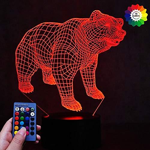 Illusion 3D Ours LED Lampe Art Déco Lampe Lumières LED Décoration Lampes Télécommande 7/16 Couleurs Change Veilleuse Alimenté par USB Enfants Cadeau Anniversaire Noël Cadeaux