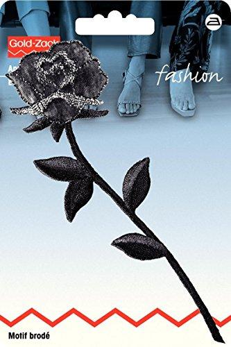 Motif br rose stylisée, noir