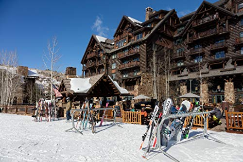 24 x 36 Giclee Print ofStacked skis at The Ritz-Carlton Bachelor Gulch Luxury Hotel in The Beaver Creek Resort Area of Avon Colorado west of Vail r28 2016 Highsmith