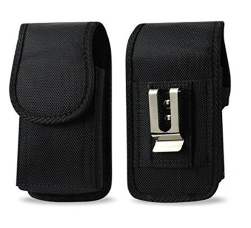 Golden Sheeps Military Grade Heavy Duty Holster Nylon Metal Clip Compatible with Flip Phone or Smartphone Up to 4.25x2.25x0.85 Inch in Dimensions, Rugged Nylon Canvas Carrying Case with Belt Clip