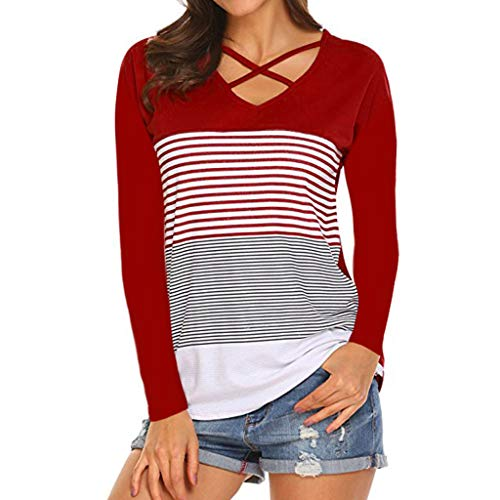 Topkal 2019 - Camiseta de verano para mujer, manga corta, casual, manga larga, a rayas, con costuras decorativas, blusa básica, moda Rojo A. XXL