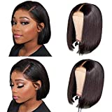 CHEETAHBEAUTY 4x4 Short Bob Wigs Human Hair Lace Closure Wigs Brazilian Virgin Human Hair Straight Bob lace Front Wigs For Black Women Pre Plucked with Baby Hair 130% Density(8inch)