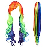 Anogol Hair Cap+Long Wavy Cosplay Wigs for Bar Party Halloween Costume with One Ponytail