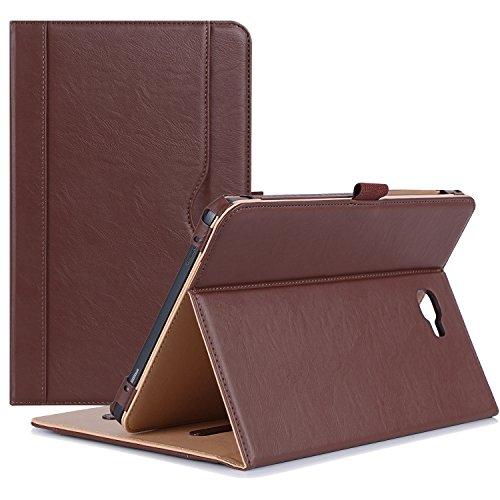 ProHülle Hülle für Galaxy Tab A 10.1 - Stand Folio Hülle Cover für Galaxy Tab A 10,1 Zoll Tablette SM-T580 T585, mit Mehreren Betrachtungswinkeln, Dokumentenkarte Tasche -Braun