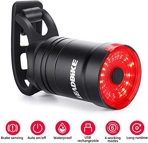 ewrwrwr Smart Bike Tail Light Sensor de Freno Luz de Bicicleta Ciclismo Linterna IPX6 USB con Carga Led luz Trasera MTB