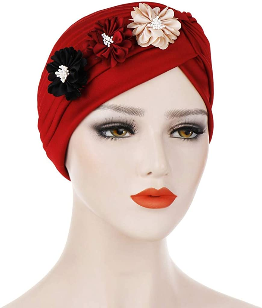 Zcuhen Women Flower Elastic Turban Beanie Head Wrap Chemo Cap Hat Muslim Ruffle Cancer Chemo Hat Soft Scarf Hijabs Chemo Cap Hair Loss Head Scarf Wrap Cap