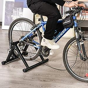 HOMCOM RodillodeBicicleta con Resistencia de 8 Niveles Entrenamiento Doméstico Entrenador de Bicicleta Ejercicio Plegable Acero 120kg Negro
