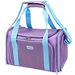 SERCOVE Travel Cat Carriers Airline Approved Pet Carrier Soft Sided Collapsible Breathable Small Dog Carrier Bag for 20Lbs Kitten Puppy Medium Dogs (Large, Purple)