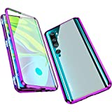 Jonwelsy Hülle für Xiaomi Mi Note 10 / CC9 Pro, Magnetische Adsorption Metall Stoßstange Flip Cover mit 360 Grad Schutz Doppelte Seiten Transparent Gehärtetes Glas Handyhülle für CC9 Pro (Violett)