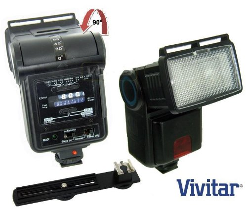 "Vivitar Zoom & Bounce Slave Flash "" Enhance Photos, Colors & Saturation "" + Bracket For Canon EOS Rebel XT XTI XSI T1I 1Ds 1D 20D 5D 300D 350D 450D 400D II 10D T2 TI K2 GII 7N 7NE 20D 30D 40D 50D 1000D 550D + Free Mini Tripod Accessories Bundle"