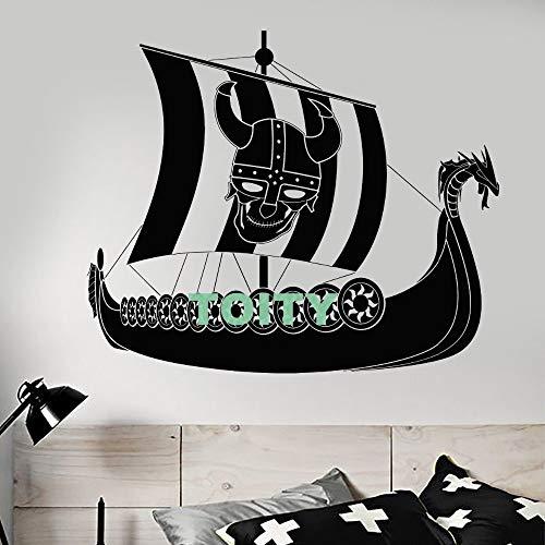Zhuzhuwen Trippy muurstickers, Viking zeeman zeilhelm met hoorns huis Mura, kleuterschool kamer decoratie muurschildering Vinyl