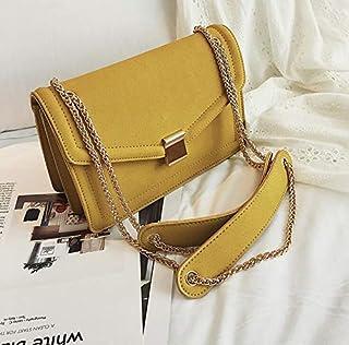 Adebie - Retro Suede Fashion Female Square Bag 2019 New High Quality Matte Nubuck Women's Designer Handbag Chain Shoulder Messenger Bags 22 X 8 X 15 cm Yellow [22 X 8 X 15 cm]