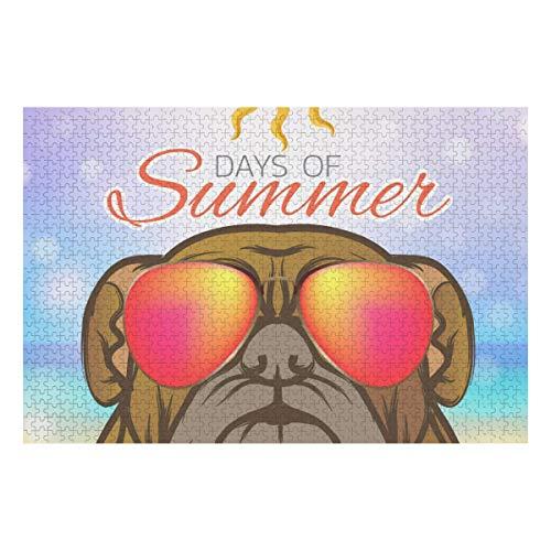 1000 Piezas Brain Puzzle Games Dog Days Summer Logo Icon Design Train Jigsaw Puzzles para niños Puzzles Jigsaw 29.53 X 19.69 Pulgadas para niños Adultos Regalo Educativo Grande