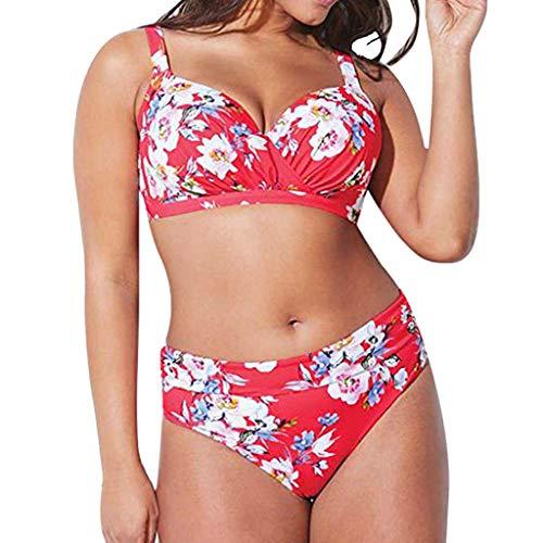 HCFKJ Bikini für Mollige, L - XXXXXL, Damen Plus Size Hohe Taille Bikini Set Badeanzug Monokini … (XL, Rosa)