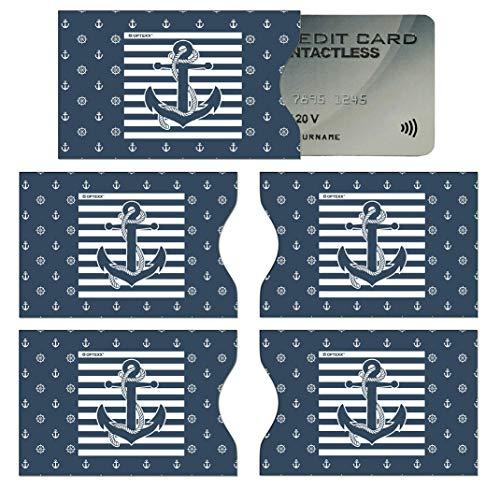 OPTEXX 5x RFID Schutzhülle TÜV geprüft für Kreditkarte Hülle Karten RFID Blocker (Seemann Anker)