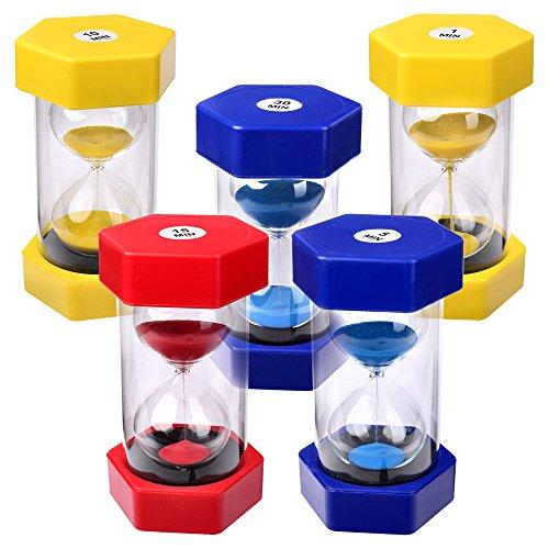 Schramm® 5 Stück XXL Sanduhren in rot, blau oder gelb ca. 15,5 x 7,8 cm Sanduhr Sandclock Eieruhr Sand Uhr Zeituhr Kurzzeituhr Sanduhr