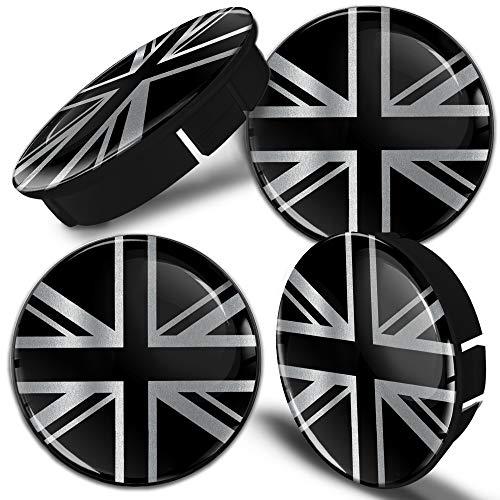 Biomar Labs 4 x 60mm Universal Tapas de Rueda de Centro Tapacubos para Coche Bandera Reino Unido Britanica UK GB Inglesa Union Jack Flag Color Negro Plata C 108
