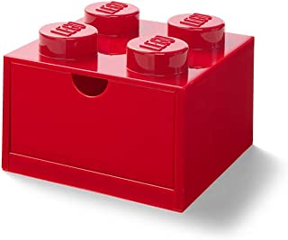 LEGO Desk Drawer 4 knobs Stackable Storage Box, Red, Small