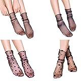 LUOEM 4 Paare Frauen hohe Socken schiere Slouch Söckchen durchsichtige Spitzen Socken