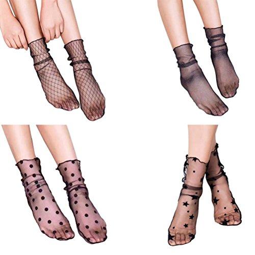 Tinksky 4 Paare Damen Netz Socken Mesh Socken