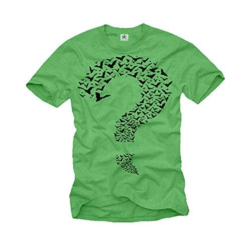 Big Bang Thoery T-Shirt für Männer Riddler - Fragezeichen grün Größe M