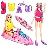 Miunana Lot 7 = 1 Motorboot + 1 Badeanzug + 1 Surfbrett + 4pcs Tauchen Set für 11,5 Zoll Mädchen...