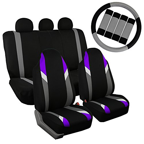 FH Group FB113113 Supreme Modernistic Seat Covers (Purple) Full Set with Gift – Universal Fir for Cars, Trucks & SUVs