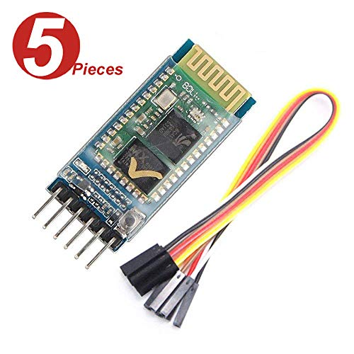 WINGONEER 5Pcs HC-05 Wireless Bluetooth Transceiver Modul Slave and Master RS232 with 6 set cable for Arduino