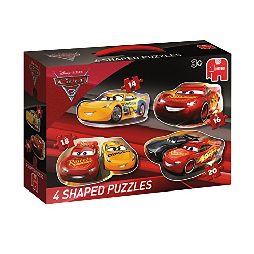 Jumbo Spiele 19617 - Disney Cars 3 - 4in1 Shaped Puzzle 14/16/18/20 Teil