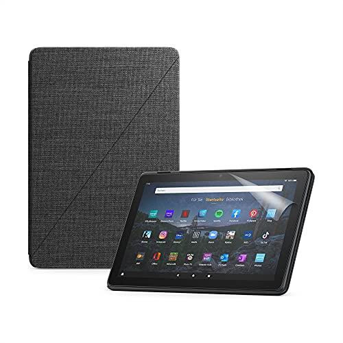 Wir stellen vor: das Fire HD 10 Plus-Tablet (32 GB, schiefergrau, ohne Werbung) + Amazon-Hülle mit Standfunktion (schwarz) + NuPro-Bildschirmschutzfolie (2er-Pack)