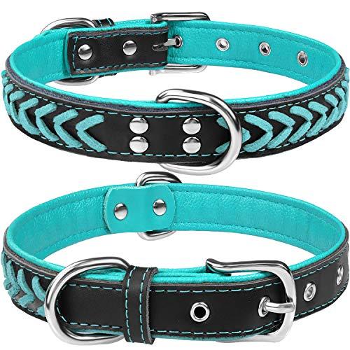 TagME Hundehalsband Leder für Extra Große Hunde,Geflochtenes, Weich Gepolstert Hundehalsbänder mit Doppelten D-Ringen,Türkis XL