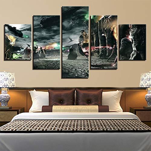 Fxwj 5 Piezas Lienzos Cuadros Pinturas Harry Potter Impresiones En Lienzo Decoración para El Arte De La Pared del Hogar,D,100x55cm