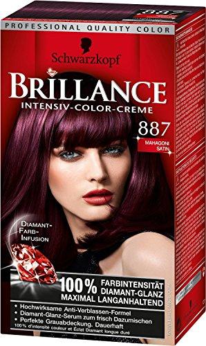 Schwarzkopf Brillance Intensive-Color-Creme/ 887 Mahagoni Satin/Permanente Haarfarbe/Coloration/ Stufe 3