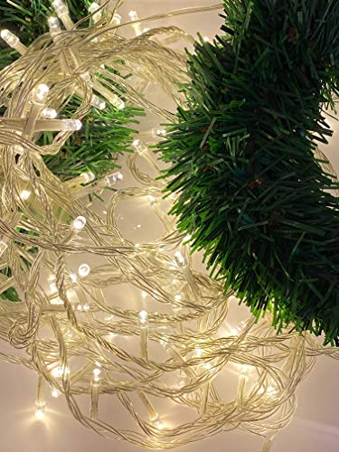 36ft Christmas artificial pine garland outdoor set with 100 LED lights string for lighted christmas garland outdoor, home decoration, hallway decoration.