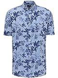 Camisa para hombre con estampado floral de lino de alta calidad, camisa hawaiana con cuello abotonado, informal, manga corta, camisa de lino – Camisa hawaiana con estampado floral Blue Navy Flower XL
