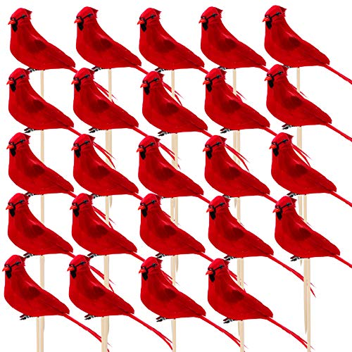 Aneco 24 Pack Cardinal Red Bird Christmas Artificial Cardinal Red Bird with Wooden Stick Securing Clip 5.5 Inch Cardinal Red Bird for Christmas Tree Wreath Ornament Decorations