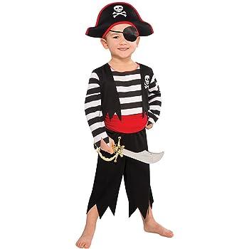 Disfraz de Pirata para niños – Negro, Rojo, Blanco – Talla L 140 ...