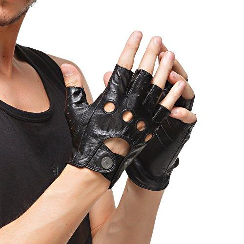 Nappaglo Herren Lederhandschuhe für Fahren italienisches Lammfell Halbfinger Fingerlose Ungefüttert Motorrad Radfahren Handschuhe (S (Umfang der Handfläche:bis zu 20.3cm), Schwarz)