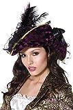 Fever Kollektion Plündernder Pirat Hut Violett mit Federn und Band, One Size