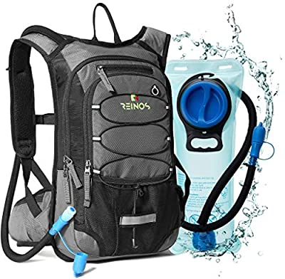 REINOS Hydration Backpack with 2L Bladder for Men & Women, Daypack with Thermal Insulation   Great for Hiking, Running, Cycling, Camping, Skiing, Outdoor Activities (Grey)