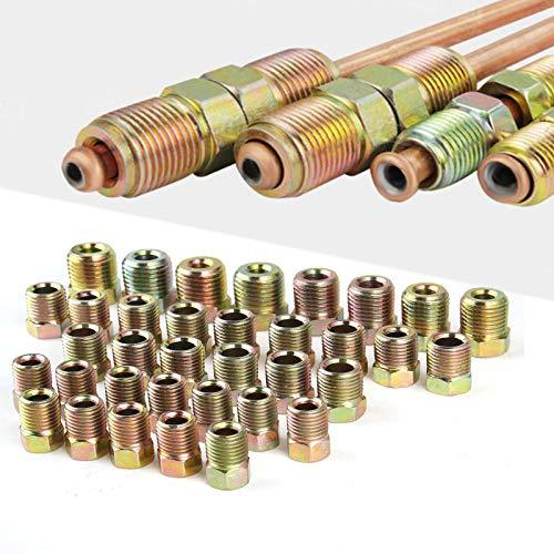 Muhize 32 PCS Brass Brake Line Fitting Kit for 3/16