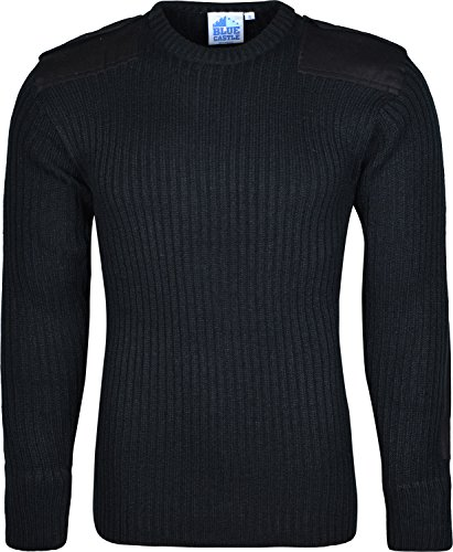 Boston Clothing Pull militaire en maille col rond - noir - Large