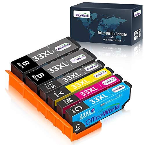 OfficeWorld 33 33 XL Cartuchos de Tinta para Epson 33XL Compatible con Epson Expression Premium XP-640 XP-530 XP-900 XP-540 XP-7100 XP-830 XP-630 XP-645, 6-Pack