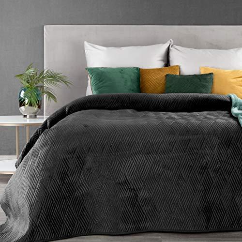 Weiche Tagesdecke Gesteppte Decke Ganzjährige Bettüberwurf Steppung Muster Samt Einfarbige Steppdecke Quilt (Ariel 1 Schwarz, 220 X 240 cm)