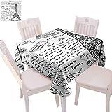 Mantel cuadrado de París para camping tradicional famoso Elementos parisinos Bonjour Croissan Café Torre Eiffel Imprimir arañazos en la mesa, 91,4 x 91,4 cm, negro y blanco
