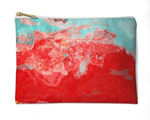 Makeup Bag or Pencil Case with Abstract Art in Aqua and Red, Bon Temps