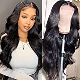 Body Wave Lace Front Wigs Human Hair 4x4 Lace Closure Wig Human Hair Wigs for Black Women Pre Plucked Bleached Knots Glueless Brazilian Hair Body Lace Front Wigs 150% Density Natural Color (20 Inch)
